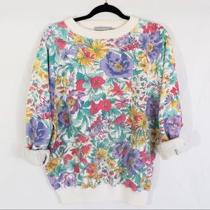80s Vintage Floral Sweatshirt by Forenza Sportwear